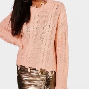 Pink Cable Knit Fringe Sweater
